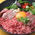 【ランチ】名物 グルマン丼 1980円 人気の赤牛ステーキ丼と馬トロ丼のコラボ丼!1度で2度楽しめる!