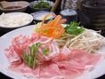 【ランチ しゃぶしゃぶ60分食べ放題1000円(税込)】お肉、ご飯[食放]、野菜盛り付 ※ワンドリンクオーダー制