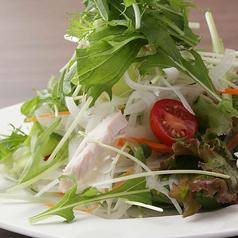 料理メニュー写真地鶏と温玉のシーザーサラダ/蒸し鶏と水菜のシャキシャキサラダ