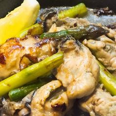 牡蠣とアスパラバター
