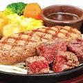 料理メニュー写真弾力ハンバーグ(150g)&熟成牛カットステーキ(100g)