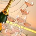 シャンパンタワー ケーキ等 パーティーを盛り上げるサービスをご用意