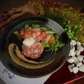 料理メニュー写真低温調理 黒毛和牛の牛ハムカルパッチョサラダ