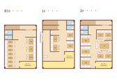 お席の見取り図。2階は最大42名様まで貸切頂けます。1階は最大18名様、地下は最大30名様です。