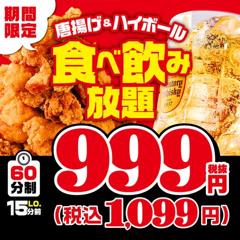 期間限定≪唐揚げ+ハイボール食べ飲み放題≫【1099円(税込)〜】