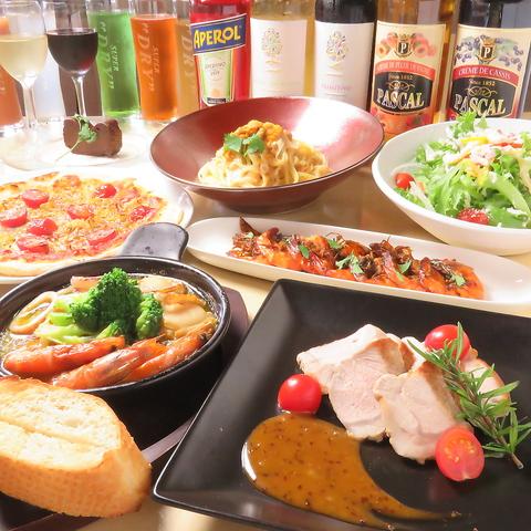 《誕生日記念日にぴったり!》 選べるお肉とパスタとピザ含む贅沢7品コース⇒5000円(税込)