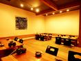 2Fのお座敷は最大20名様まで対応!会社宴会など、大人数でのご宴会にもおすすめ。貸切することも可能!
