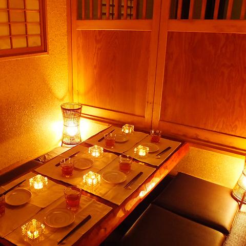 京都の料亭のような風情あふれる和の空間。個室でゆったりとお寛ぎ下さい。
