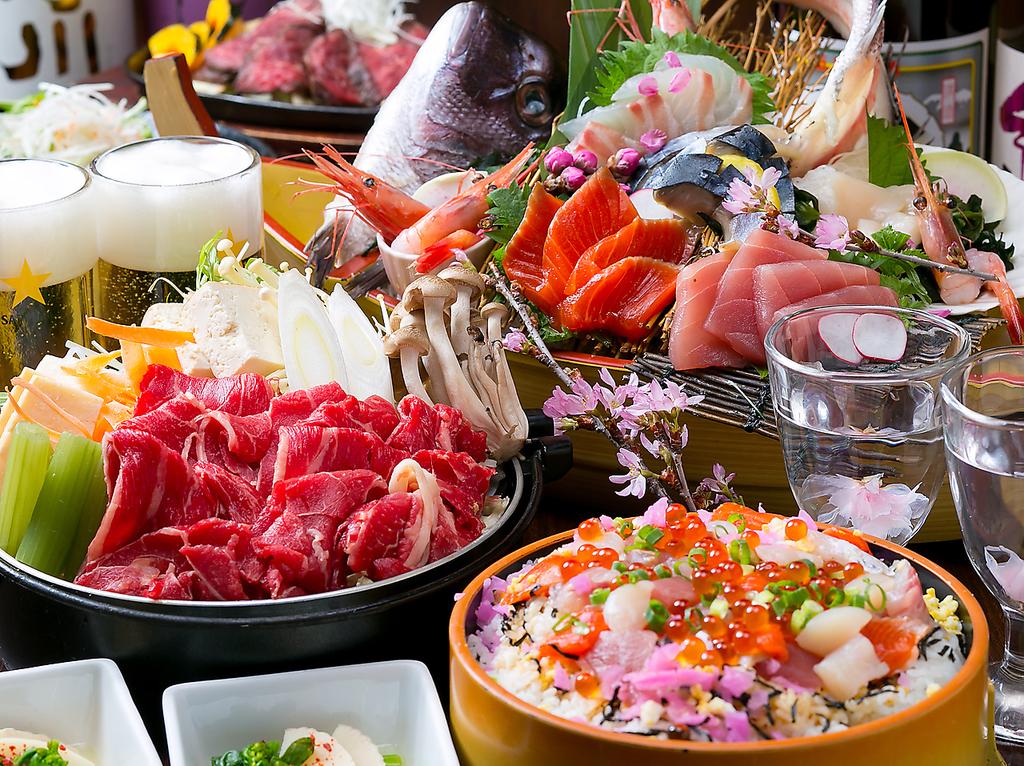 【特別コース】道産牛すき焼、鮮魚舟盛など全8品エビス、クラシック生、地酒込120分飲み放付!!