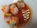 料理メニュー写真エビのベトナム風生春巻き・サーモンとクリームチーズ生春巻きマグロとアボカドの生春巻き・冷しゃぶ韓国風