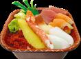 【大漁丼 540円】 その名の通り、具材を贅沢に乗せた贅沢丼。(かにかま・かずのこ・北寄貝・サーモン・マグロ赤身・とびっこ・いか)