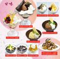 【メニュー紹介:デザート】 アイスやパフェ、珈琲ゼリー、ひとくちサイズのシュークリームと積み上げたプロフィットロールなど、スイーツも絶品です!ご飯の後にも、おやつにも、カフェ使いにも◎