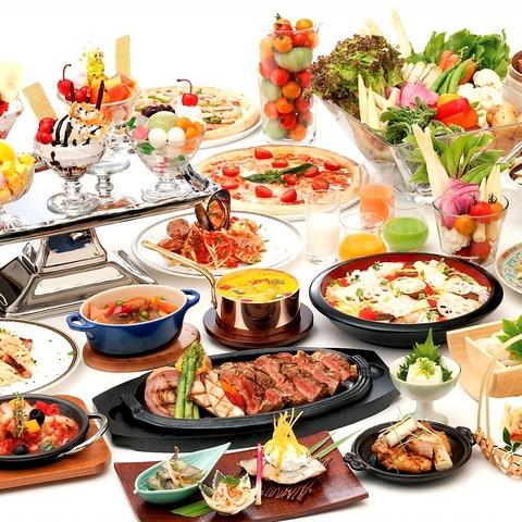 常時60種類以上が食べ放題♪和・洋・中のお料理とデザートをビュッフェスタイルで☆