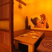《2階》古民家風の落ち着いた雰囲気の個室。かわいい子だぬきのイラストはお部屋によって異なります。女子会や大人のデートにもオススメ♪