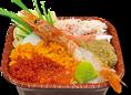 【オホーツク丼 540円】 北の海の美味しさをギュッと詰め込みました。(エンガワ・カニカマ・カニ身・赤エビ・カニ味噌・ウニ・イクラ・とびっこ)