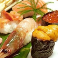 料理メニュー写真中とろ/生うに/赤貝/あわび/ボタン海老/サザエ/イカウニ