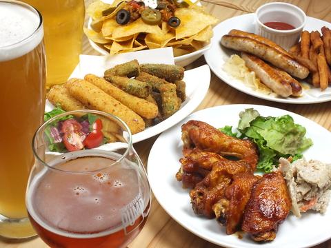 常時10種類のビールをご用意♪ビール素材本来の味とアメリカ料理をお楽しみください!
