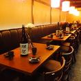 最大50名様までのご宴会が可能なテーブル席はレイヤードも自由にできますので、人数やシーンなどお気軽にご相談ください。[蒲田 蒲田駅 肉寿司 居酒屋 飲み放題 貸切 個室 肉 宴会 日本酒 お酒]