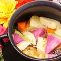 料理メニュー写真スペイン鍋で作るアツアツ温野菜