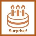 誕生日・記念日のお祝い対応いたします!プレート用意可能♪