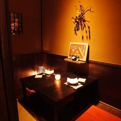 人気の2名様個室。ぬくもりある落ち着いた和空間でごゆっくりお寛ぎ下さい。