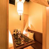 2名様からご案内可能な個室席はいつもとは違うお洒落な空間で新鮮食材を使ったお料理をご堪能いただけます。少人数~団体様までご利用可能な個室席完備◎