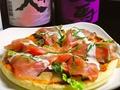 料理メニュー写真イタリア産生ハムサラダピザ