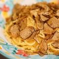 料理メニュー写真-パスタ- 松きのこのカルボナーラと秋トリュフ