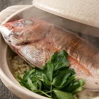 鯛を1本まるごと土鍋で炊き上げる鯛飯◎
