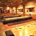 会社宴会などにおすすめな掘ごたつ個室席。最大60名までの宴会が可能!