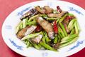 料理メニュー写真ニンニクの芽と湖南燻製肉炒め