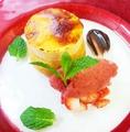 料理メニュー写真ガトーマスカルポーネとクレマカタラーナ、イチゴのジェラート