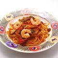 料理メニュー写真エビときのこのスパゲティー