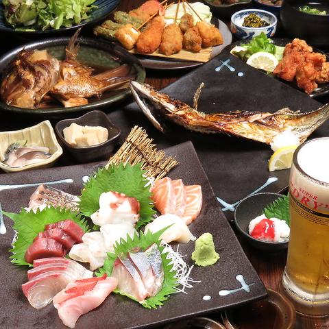 こだわりの海鮮料理に大阪串カツまで!!色んなものが沢山食べれます☆是非大人数で♪