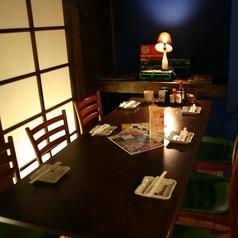 民家の2階でお食事しているかのようなテーブル席。6名様用のテーブルを2卓ご用意致しております。中階段を上ってお入りいただくスペースとなっております。レトロな窓やテーブル席の外側の電信柱等、雰囲気抜群!個室のような感覚でご利用いただけるので女子会に人気のお席となっております。【新栄町 居酒屋 個室 宴会】