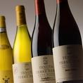 ワイン、スパークリングワイン、シャンパンなど豊富に取り揃えています。マッチングを考えた料理も取り揃えています。