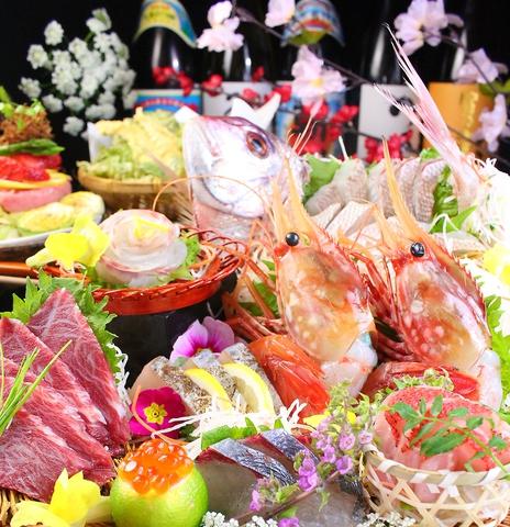 北海道と九州の厳選食材を使った料理と、夜景の見える個室や掘りごたつ座敷の大人空間