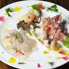 料理メニュー写真シェフお任せ前菜の3種盛り合わせ