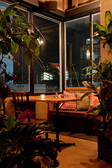 窓とグリーンに囲まれたベンチ席も人気◎360度パノラマが展開する開放的な店内は、ついつい長居してしまう癒され空間♪普段使いや女子会にピッタリ♪インスタ映えも間違いナシ♪