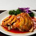 料理メニュー写真蒸し鶏の四川胡麻辛子ソース掛け
