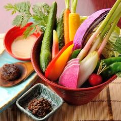 料理メニュー写真有機野菜盛り合せサラダ ~3種のディップにて~
