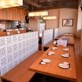 清潔感のある店内、オーナーのこだわりがつまった料理をお楽しみください。ご宴会にもおすすめの広々空間です。