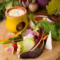 ヨーロッパ野菜のガーデンバーニャカウダー Bagna Cauda over European Vegetables 780円(税別)