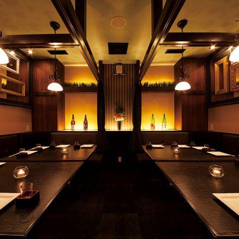 アンティークなペンダント照明が雰囲気抜群の完全個室は12名様~最大16名様まで★会社宴会にオススメです!