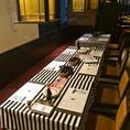 お洒落なストライプのクロスが目印の店内奥のテーブル席は、4名様席、6名様席など人数に合わせて自由にレイアウトが可能です。また、今なら2時間飲み放題付ご宴会コースを全10品 4,500円~ご用意しております!どれも前菜からメインの熟成肉にデザートまで存分にお楽しみ頂けるボリューム満点のコースです♪