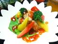 料理メニュー写真鶏のチリソース/ハバネロウインナー(激辛ソース添)
