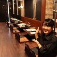 レンガ調の温かみのある空間と広々てと使えるテーブル席。最大20名様OK!!
