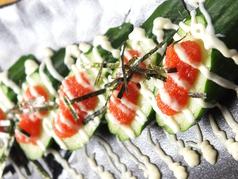 料理メニュー写真あぶり明太子/明太子キューリ/サラミキューリ/チャンジャ/塩キャベツ