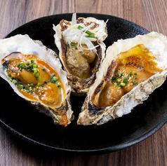 牡蠣の殻焼き 三種盛り