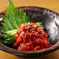 料理メニュー写真たこわさびの九条葱添え/チャンジャ